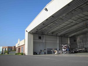 Outside view of open hangar