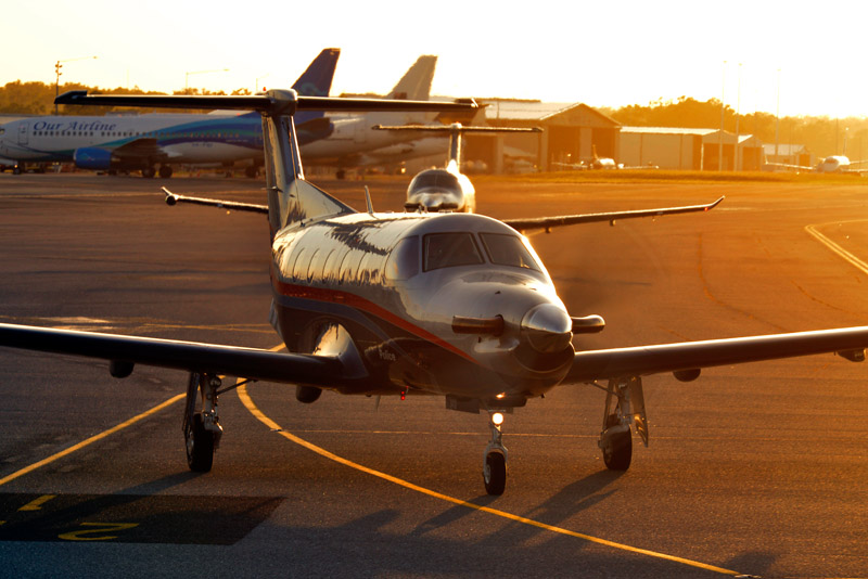 pilatus pc-12 in the sun